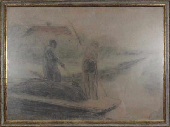 Max Liebermann - Zwei Männer beim Ausbaggern eines holländischen Kanals - Rahmenbild