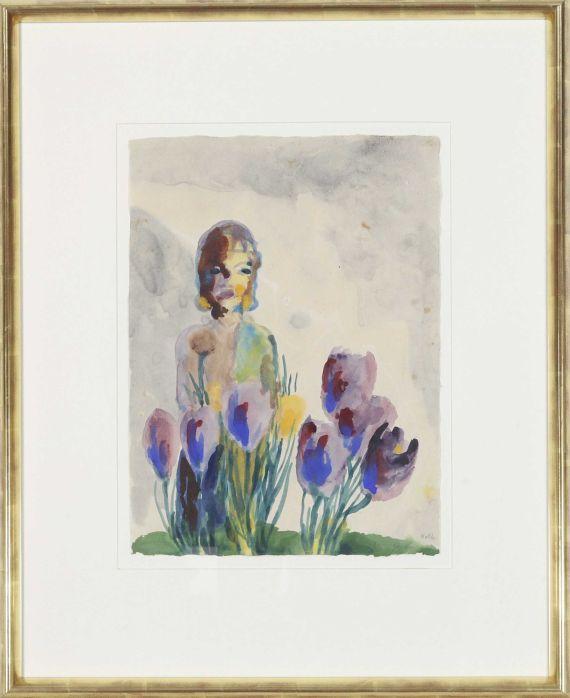 Emil Nolde - Stillleben mit Tulpen und einer Figur - Rahmenbild