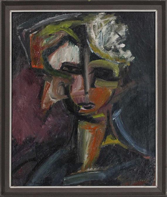 Bruno Krauskopf - Weiblicher Kopf mit einer Blüte im Haar - Rahmenbild