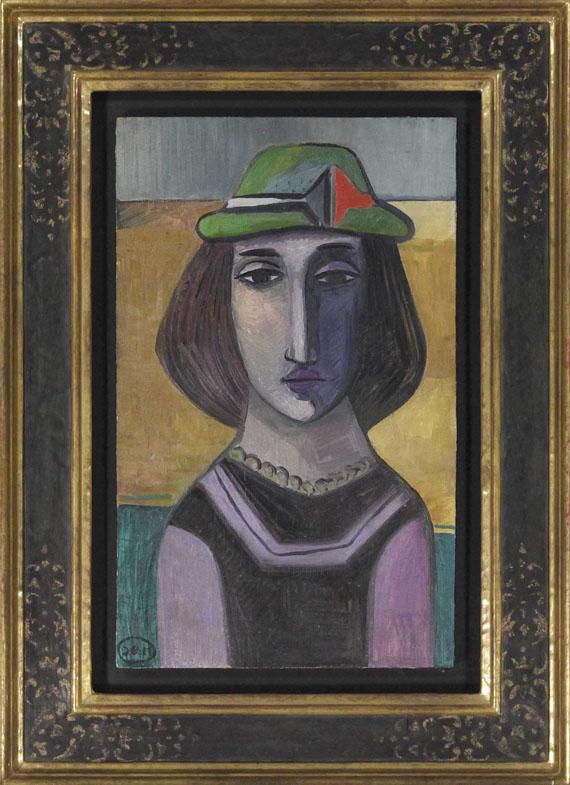 Johann Georg Müller - Bildnis einer Frau mit grünem Hut - Rahmenbild