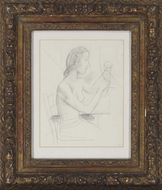 Karl Hofer - Mädchen mit Triangel (sitzend) - Frame image