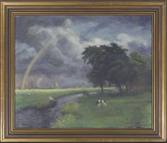 Otto Modersohn - Wiesenlandschaft nach dem Regen (tiefe Sonne) - Frame image