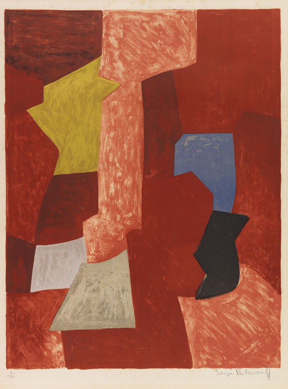 Serge Poliakoff - Composition rouge, jaune et bleue