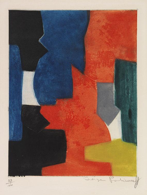 Serge Poliakoff - Composition bleue, rouge, verte et noire