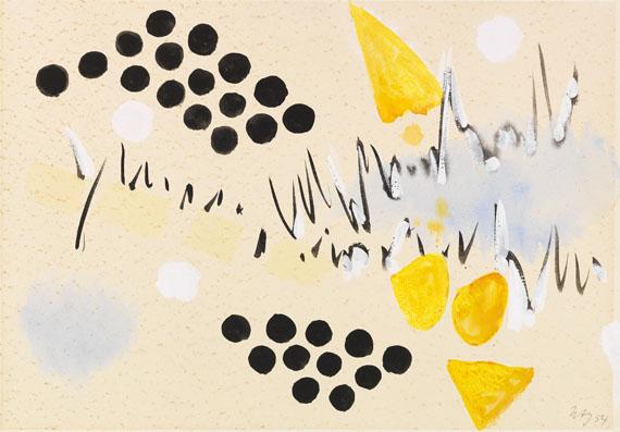 Ernst Wilhelm Nay - Komposition mit schwarzen Punkten