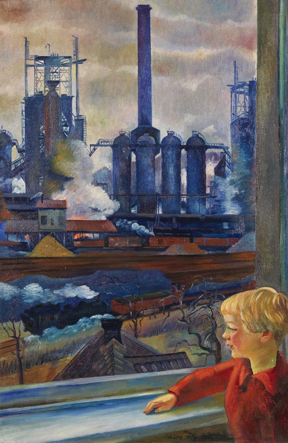 """Conrad Felixmüller - Klöckner-Hochofen-Werk, Haspe """"vom Wohnzimmerfenster Familie Wulf gemalt, mit Sohn Ludwig"""""""