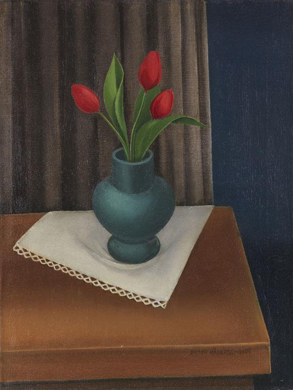 Anton Räderscheidt - Stillleben mit blauer Vase und drei Tulpen