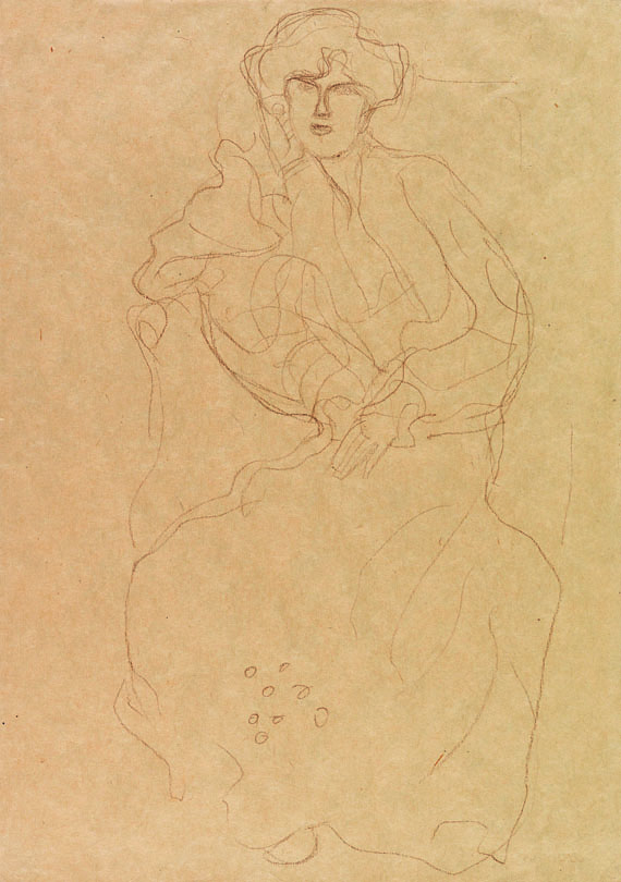 Gustav Klimt - Im Lehnstuhl Sitzende von vorne