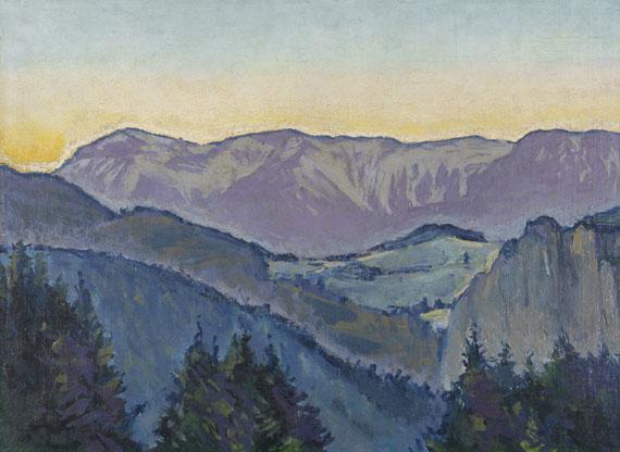 Koloman Moser - Blick auf die Rax von der Villa Mautner v. Markhof im Abendlicht