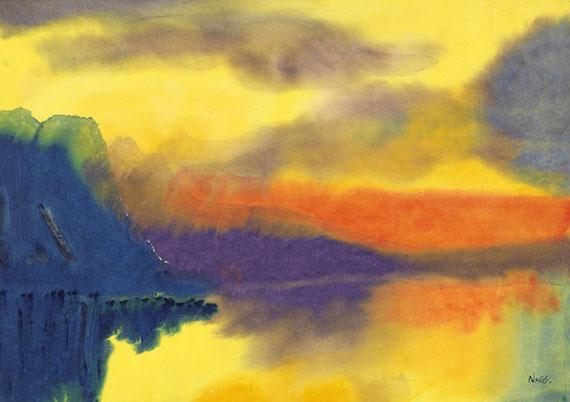 Emil Nolde - Schweizer Bergsee mit Wolkenspiegelungen