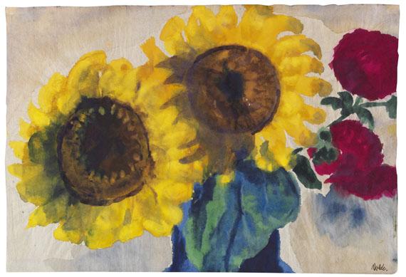 Emil Nolde - Sonnenblumen und rote Blüten