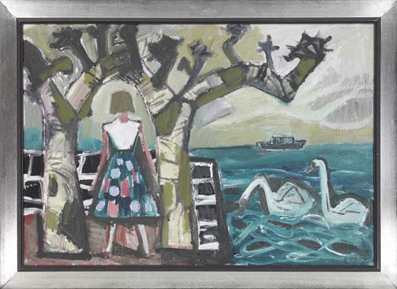 Otto Dix - Mädchen mit Platanen und zwei Schwänen am See - Frame image