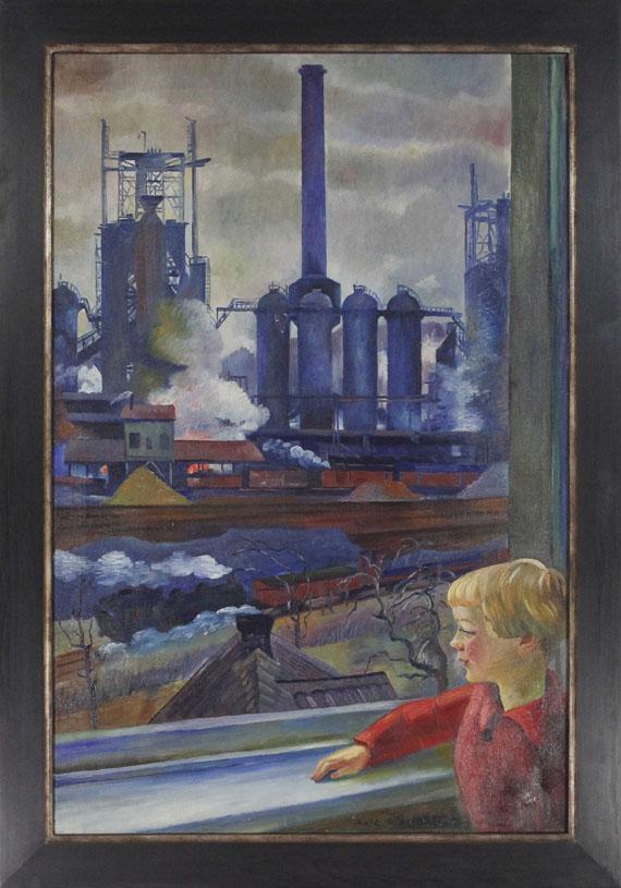 """Conrad Felixmüller - Klöckner-Hochofen-Werk, Haspe """"vom Wohnzimmerfenster Familie Wulf gemalt, mit Sohn Ludwig"""" - Rahmenbild"""