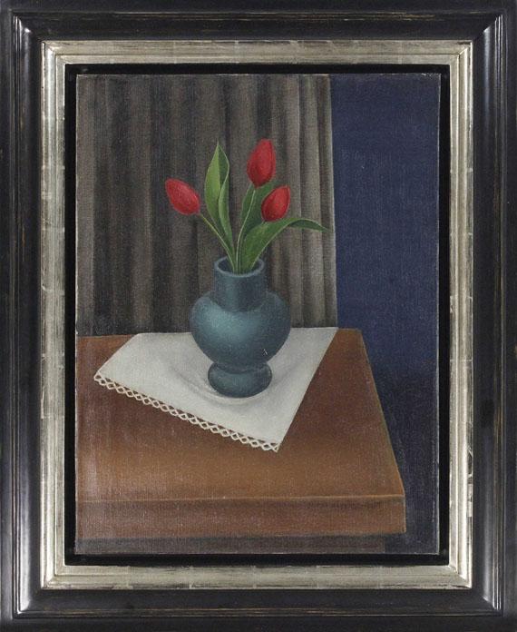 Anton Räderscheidt - Stillleben mit blauer Vase und drei Tulpen - Frame image