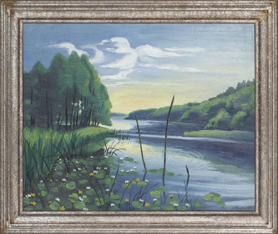 Hermann Max Pechstein - Stiller Winkel am See (Pommern, Koser See) - Frame image