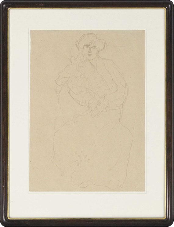 Gustav Klimt - Im Lehnstuhl Sitzende von vorne - Rahmenbild