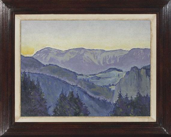 Koloman Moser - Blick auf die Rax von der Villa Mautner v. Markhof im Abendlicht - Rahmenbild
