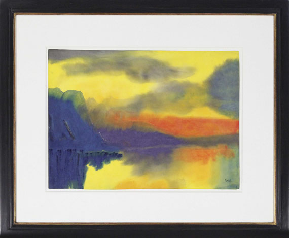 Emil Nolde - Schweizer Bergsee mit Wolkenspiegelungen - Rahmenbild