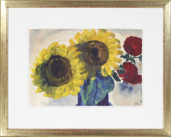 Emil Nolde - Sonnenblumen und rote Blüten - Frame image