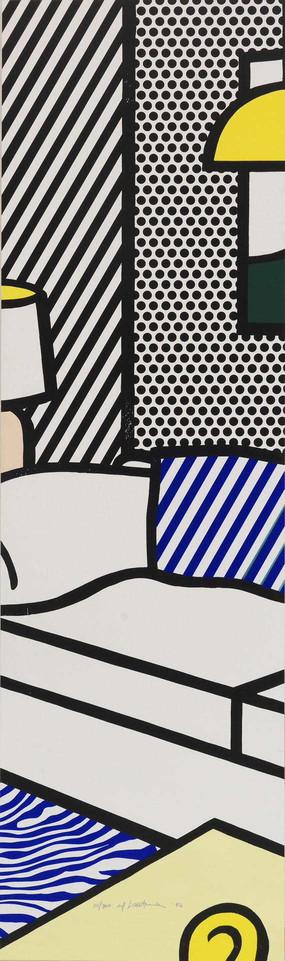 Roy Lichtenstein - Wallpaper with Blue Floor Interior -