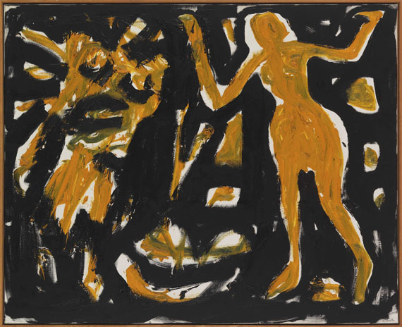 A. R. Penck (d.i. Ralf Winkler) - Dany in London mit Dämon - Rahmenbild