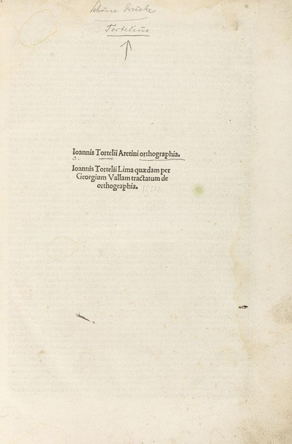 Johannes Tortellius - Orthographia. 1501