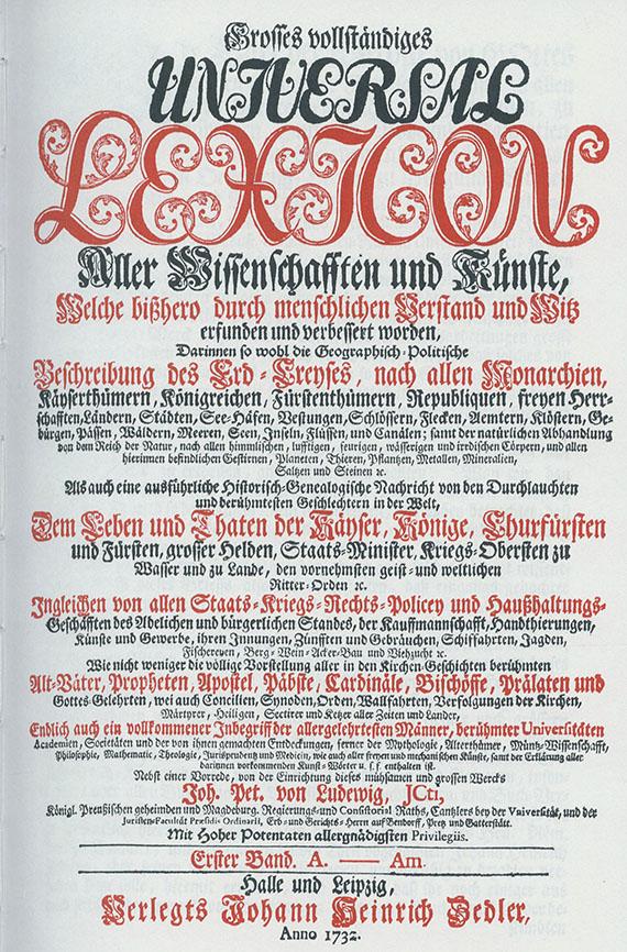 Johann Heinrich Zedler - Universal-Lexikon. 64 Bde. + 4 Suppl.-Bände.