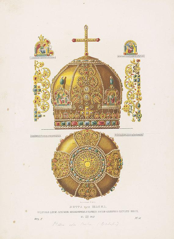 Sergej Grigorevich Stroganov - 61 Tafeln aus: Drevnosti Rossiiskago (1849ff.) + Beigaben. In Mappe.