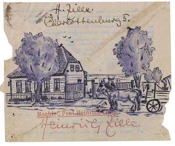 Heinrich Zille - 1 Umschlag mit Zeichnung, dabei: 1 Fotopostkarte.