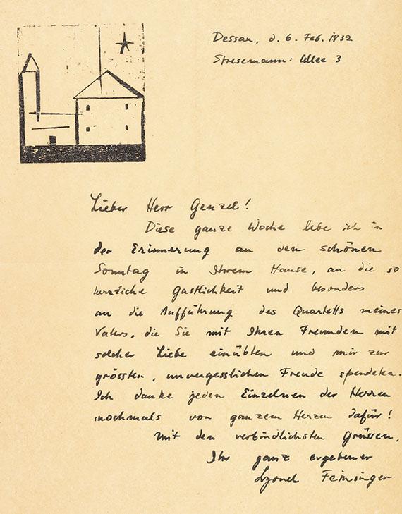 Lyonel Feininger - 1 Autograph (Brief mit Orig.-Holzschnitt) mit Umschlag, 2 eigh. Visitenkarten