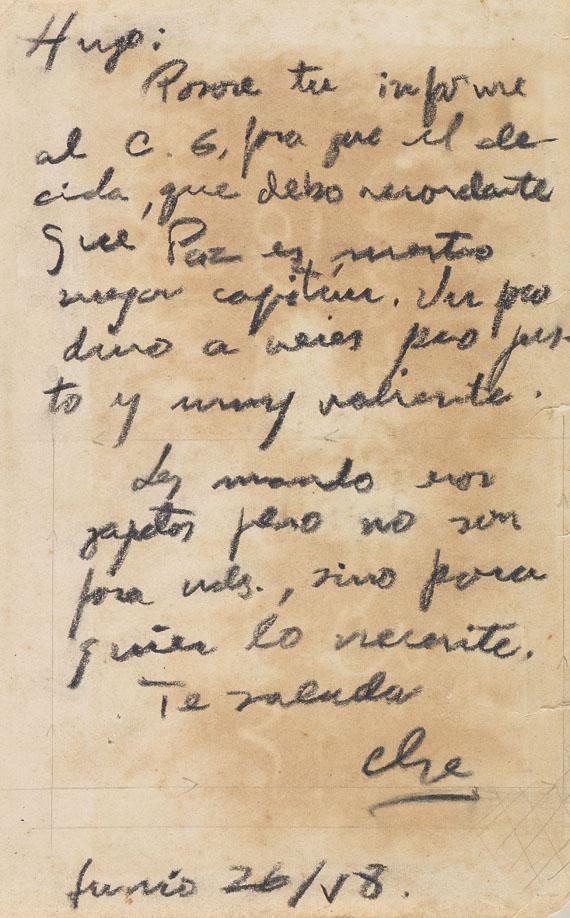 Che Guevara - Eigenhändiger Brief mit Unterschrift