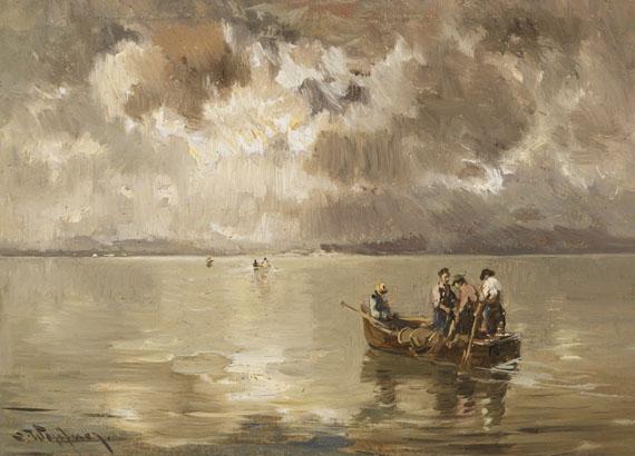 Joseph Wopfner - Aufziehendes Gewitter über dem Chiemsee