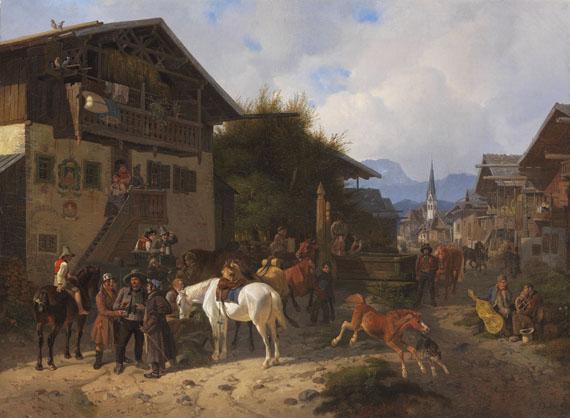August Franz Schelver - Pferdemarkt in Partenkirchen