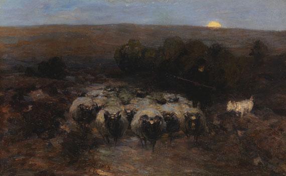 Heinrich von Zügel - Heimkehrende Heidschnuckenherde bei Mondaufgang