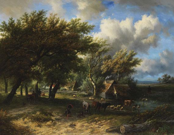 Willem Bodeman - und Eugène Joseph Verboeckhoven (1798 Warneton - 1881 Schaerbeek) - Weg zum Viehmarkt