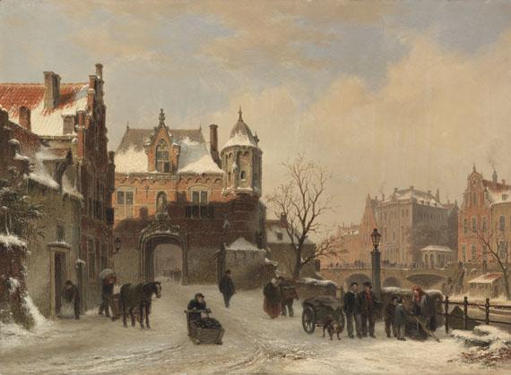 Bartholomeus Johannes van Hove - Winterliche Stadtansicht
