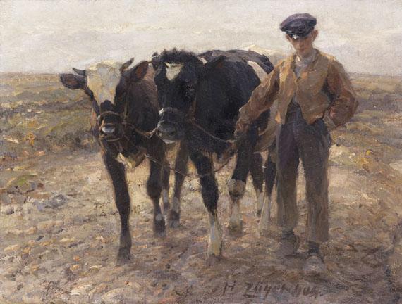 Heinrich von Zügel - Hirte mit Jungrindern auf der Heide