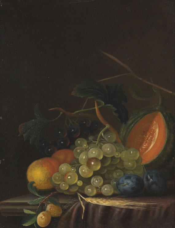 Johann Daniel Bager - Stillleben mit Trauben, Pfirsichen, Zwetschgen und Melone