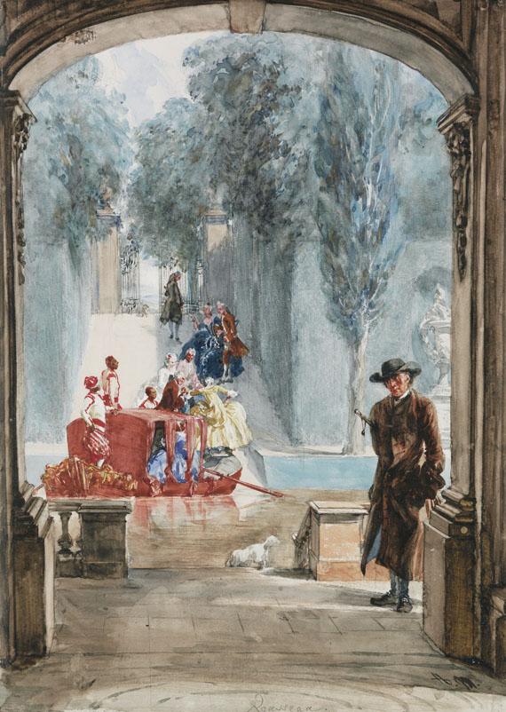Adolph von Menzel - Rousseau im Park von Versailles