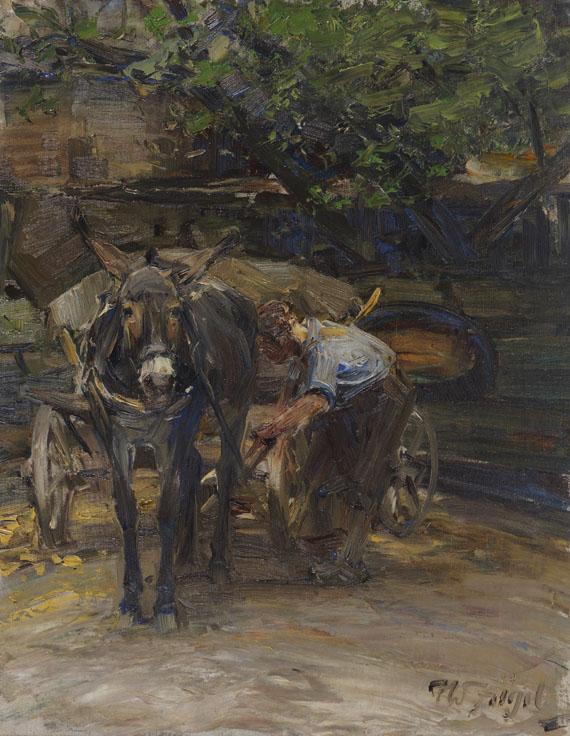 Heinrich von Zügel - Eselfuhrwerk beim Anschirren