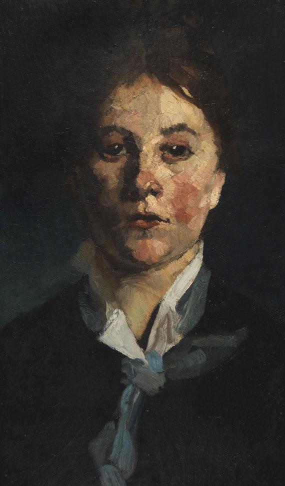 Wilhelm Trübner - Mädchen mit weißem Kragen, en face