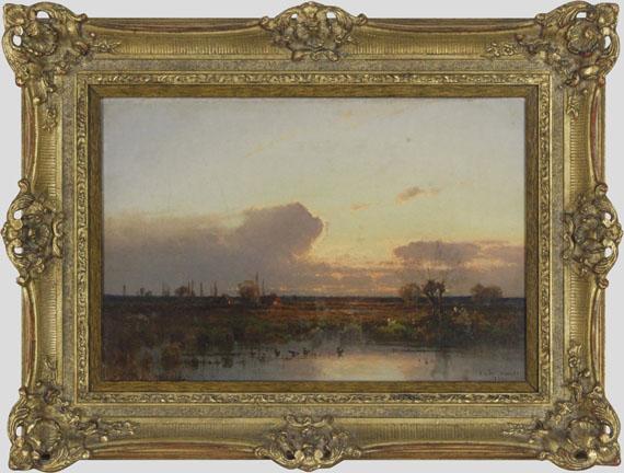 Aleksander Swieszewski - Dachauer Landschaft im Abendrot - Frame image