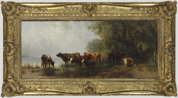 Friedrich Voltz - Kühe an einem See - Rahmenbild