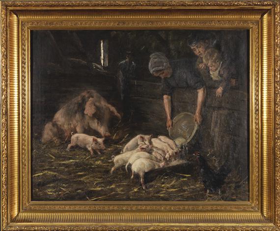 Max Liebermann - Die Wochenstube - Schweinekoben - Frame image