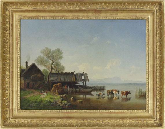 Heinrich Bürkel - Der Starnberger See mit Blick auf das Wettersteingebirge - Rahmenbild