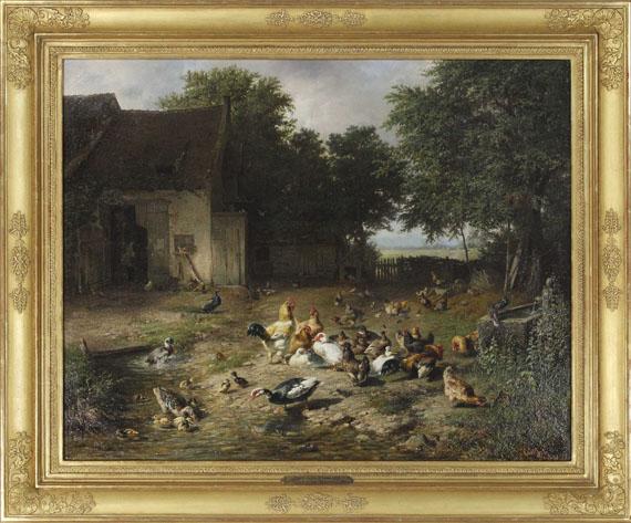 Carl Jutz d. Ä. - Sommerlicher Hühnerhof - Frame image