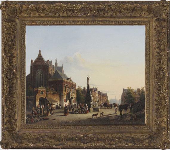 Cornelis Springer - Sommerliche Stadtansicht - Rahmenbild