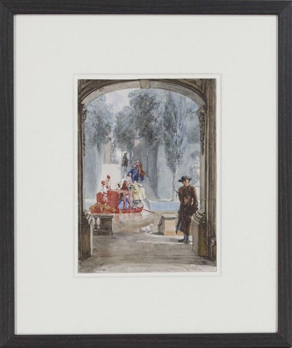 Adolph von Menzel - Rousseau im Park von Versailles - Rahmenbild