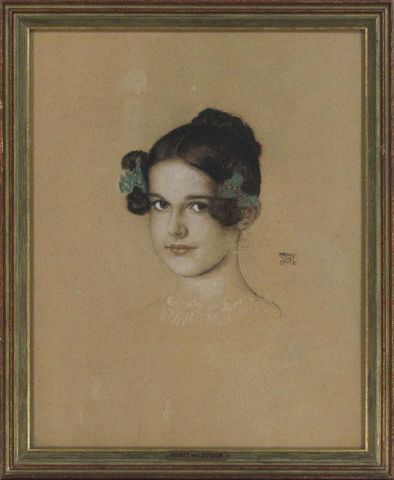Franz von Stuck - Bildnis der Tochter Mary mit grünen Schleifen - Rahmenbild