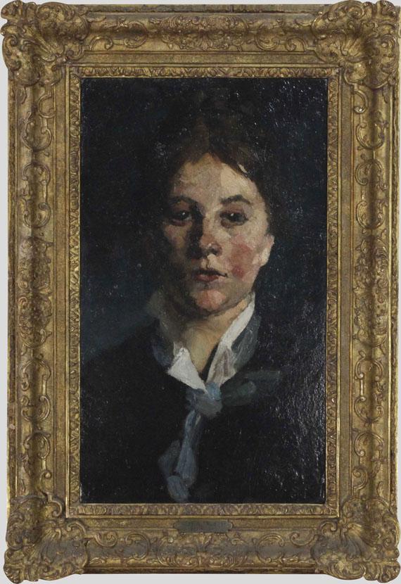 Wilhelm Trübner - Mädchen mit weißem Kragen, en face - Rahmenbild